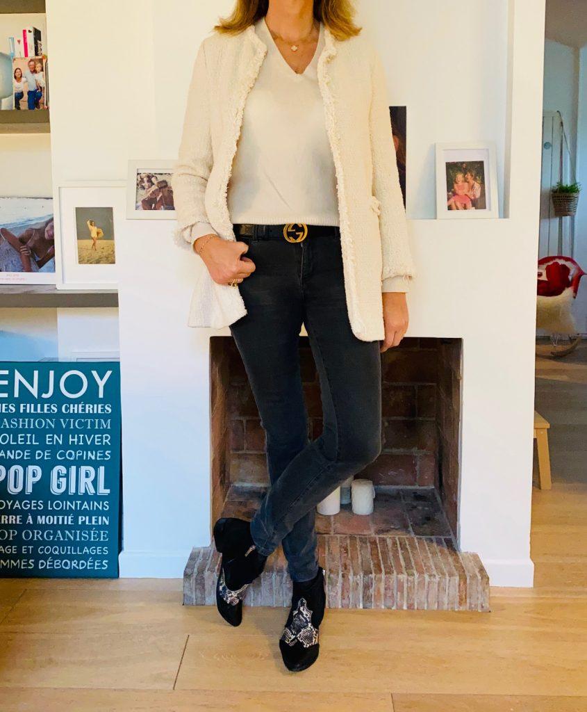 Veste en tweed crème - look Femmes Débordées