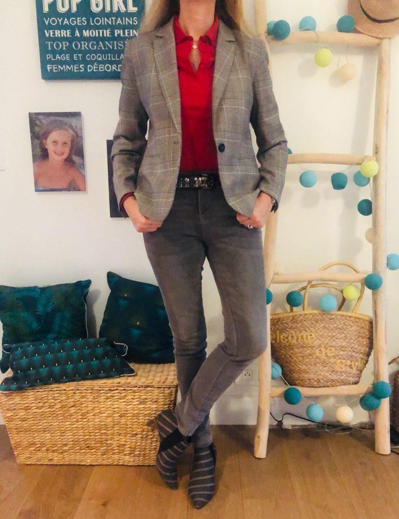 Prince de Galles et touche de rouge - look Femmes Débordées