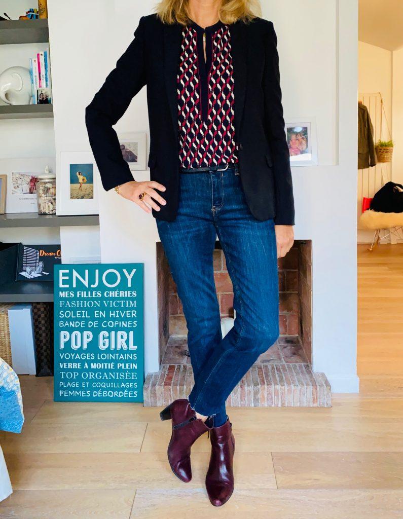 marine et jeans - look FEMMES DEBORDEES