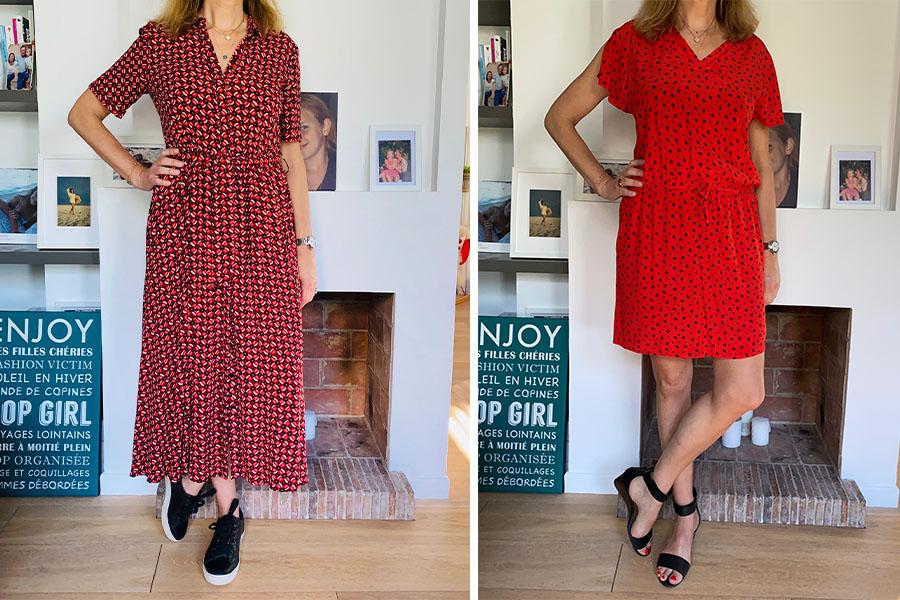 robe rouge à motifs - look Femmes Débordées