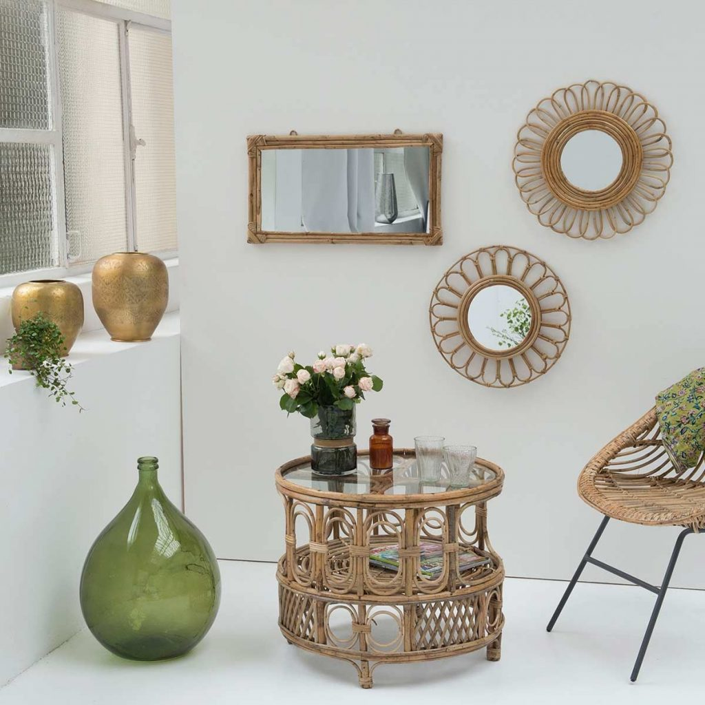 miroir-rond-fleur-vintage-en-rotin