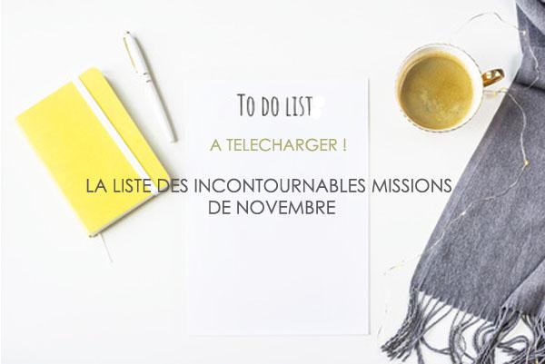 Liste des incontournables missions de Novembre